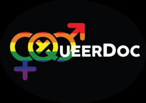QueerDoc logo design- a rainbow colored infinite gender symbol with QueerDoc in white lettering. QueerDoc providing queer and gender focused healthcare online.